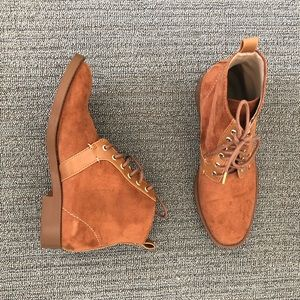 Zara Trafaluc Camel Suede Ankle Boots